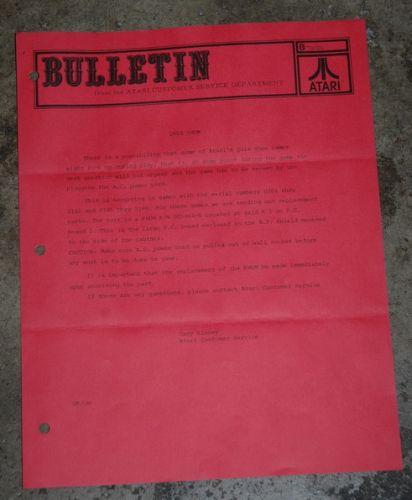 Atari Service Bulletin B-0026 Quiz Show