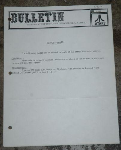 Atari Service Bulletin B-0041 Triple Hunt