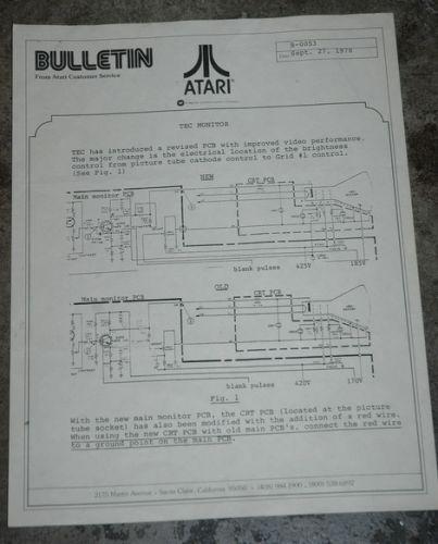 Atari Service Bulletin B-0053 TEC Monitor